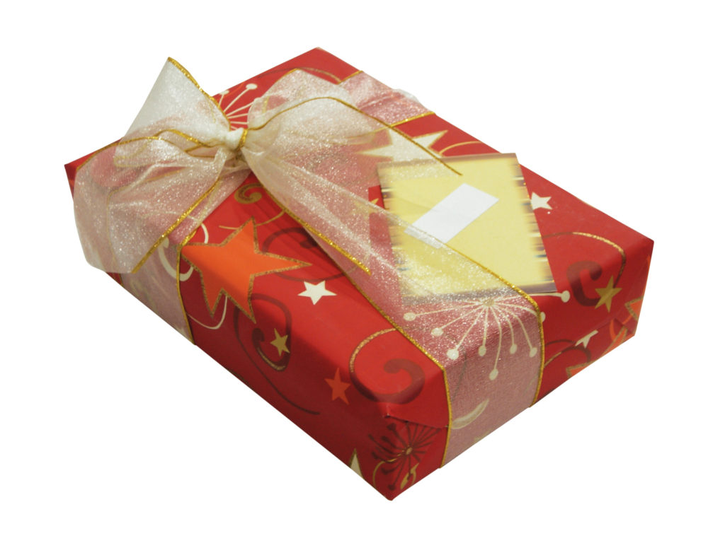 wrapped present with book inside