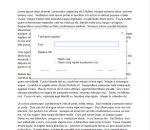 Find and Replace popup in Google Docs document