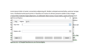 Find and Replace popup in Microsoft Word 2010