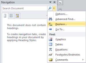 Replace option in Navigation Options menu in Microsoft Word 2010