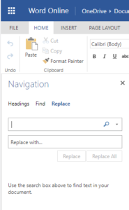 Find and Replace in the Navigation box in Microsoft Word Online