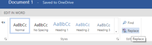 Replace button in Editing menu in Microsoft Word Online's Home tab