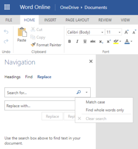 More Options in Find and Replace in Microsoft Word Online