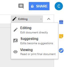 screenshot of suggestions menu