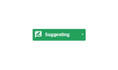green highlighted suggestion mode toggle