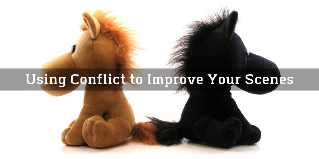 Using Conflict to Improve Your Scenes overlayed on two stuffed horses facing away from each other