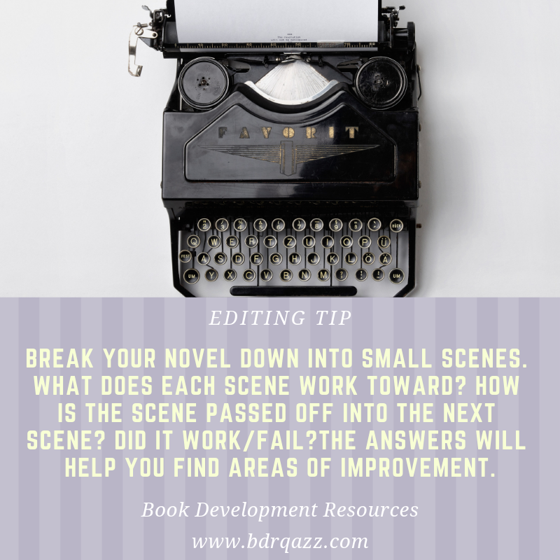 Editing Tip: Break your novel down into small scenes. What does each scene work toward? How is the scene passed off into the next scene? Did it work/fail? The answers will help you find areas of improvement.