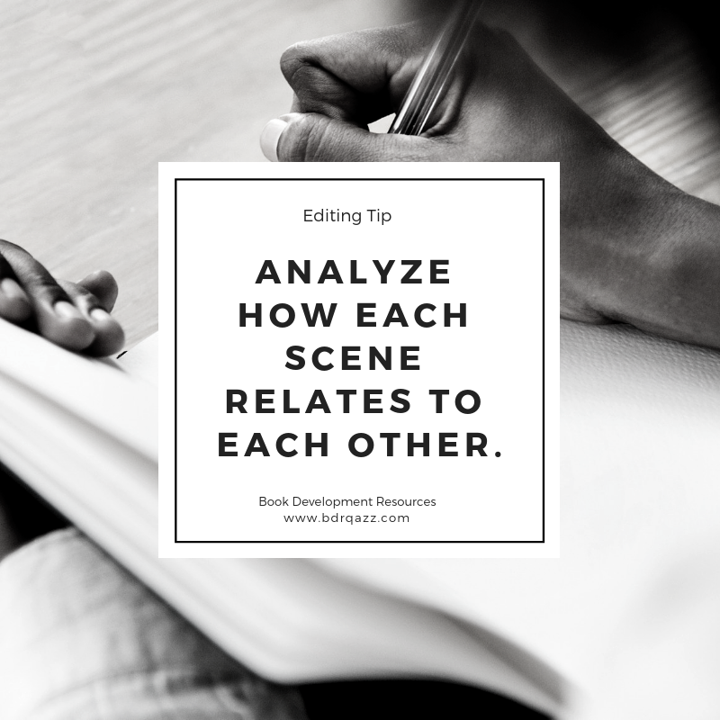 Editing Tip: analyze how each scene relates to each other.