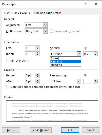 paragraph settings dialog box with opened indentation drop down in MS Word