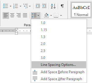 Line and Paragraph Spacing icon drop down on Home banner in MS Word