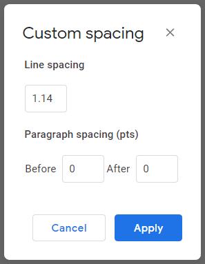 Custom spacing dialog box in Google Docs