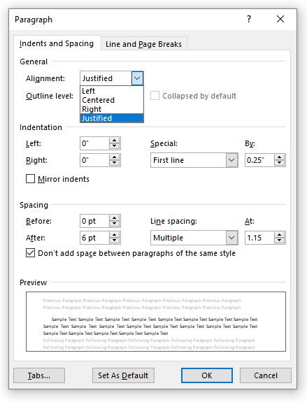 Justify drop down in Paragraph Settings dialog box