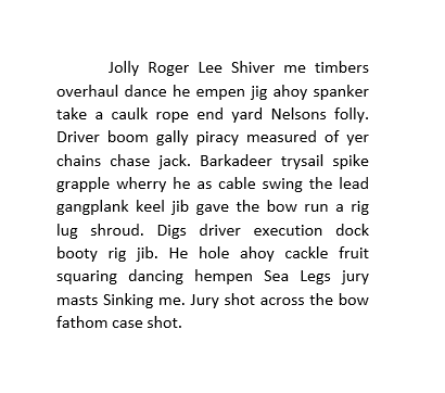 paragraph of text with a long river dividing it in half
