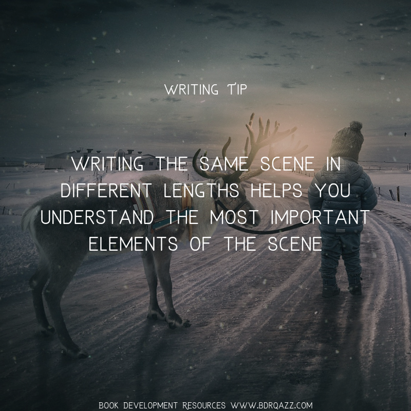 Writing Tip: Writing the same scene in different lengths helps you understand the most important elements of the scene (story!)